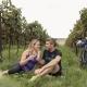 Radfahrer Paar im Weingarten